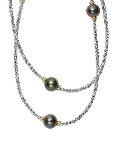 Luna Beaded Rope Necklace with Seven Tahitian Pearl Stations, 34
