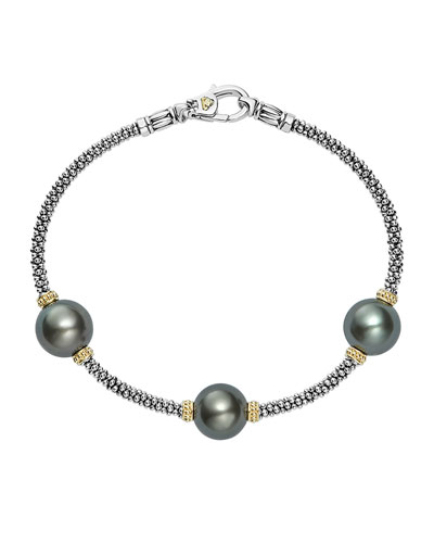 Luna Sterling Silver & 18K Rope Bracelet with Black Tahitian Pearls