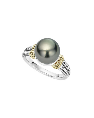 Luna Small Tahitian Pearl Button Ring