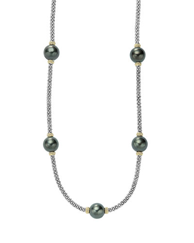 Luna Beaded Rope Necklace with Five Tahitian Pearl Stations, 16