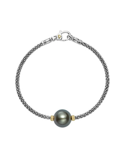 Luna Sterling Silver & 18K Rope Bracelet with Black Tahitian Pearl
