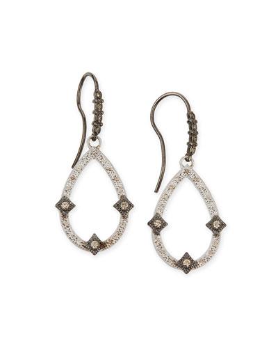 New World Midnight Open Pear Drop Earrings with Diamonds