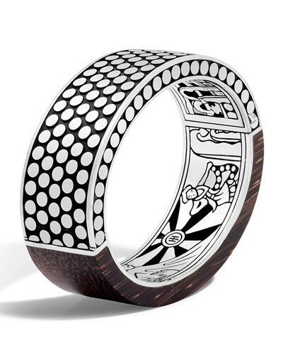 Dot Medium Oval Hinged Ebony Bracelet