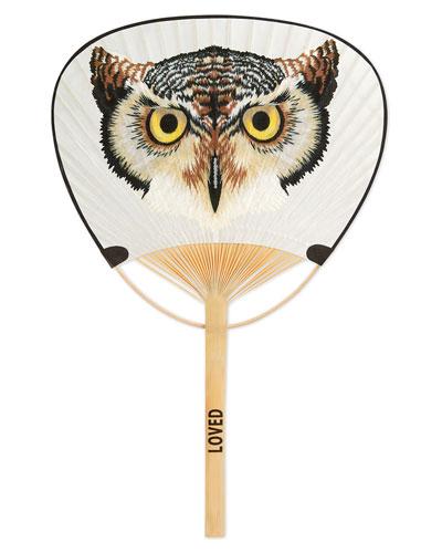 Owl & Gucci Print Paper Fan, White/Multi