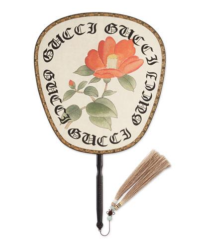 Gothic Gucci Print Fan, Ivory