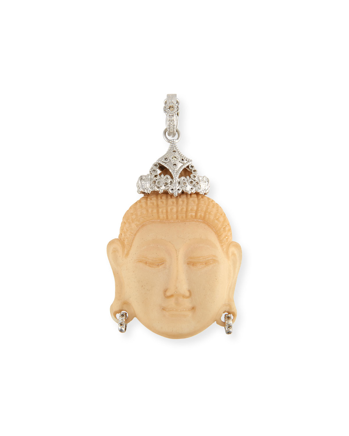 ARMENTA NEW WORLD CARVED BUDDHA ENHANCER WITH CHAMPAGNE DIAMONDS