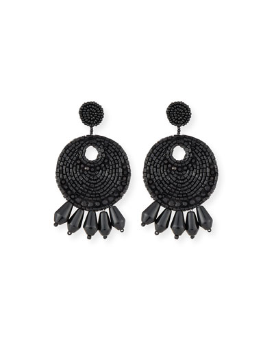 Beaded Hoop Drop Earrings, Black