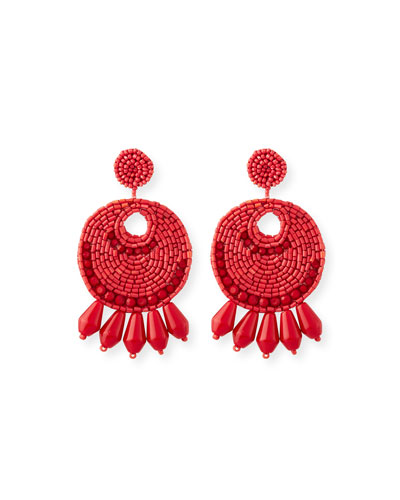 Beaded Hoop Drop Earrings, Red