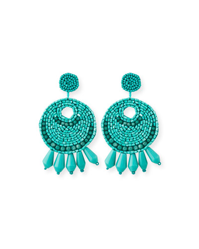 Beaded Hoop Drop Clip-On Earrings, Turquoise