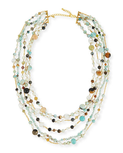 Five-Row Amazonite Beaded Necklace