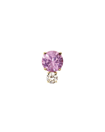 Prive Pink Sapphire & Diamond Single Stud Earring