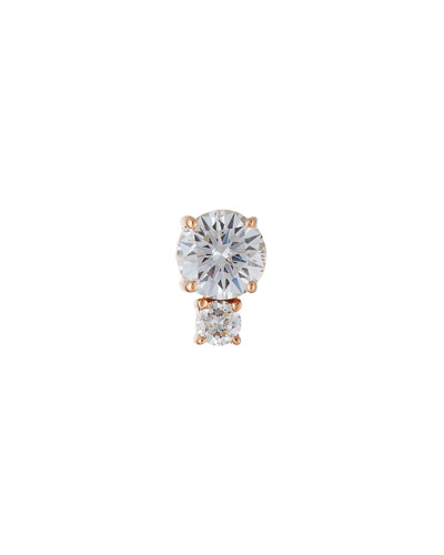 Prive Double-Diamond Post Earring in 18K Rose Gold