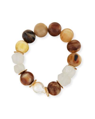 Horn, Pearl & Java Glass Stretch Bracelet