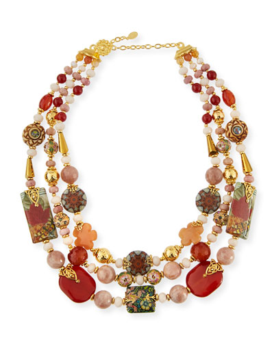 Three-Strand Decoupage & Agate Necklace