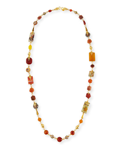 Long Decoupage & Agate Beaded Necklace, 50