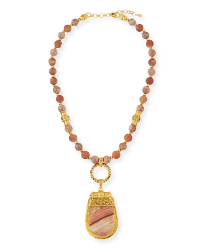 Beaded Sunstone & Druzy Pendant Necklace