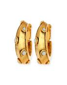 Cabochon-Studded Hoop Earrings