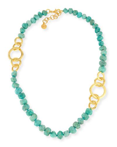 Long Amazonite Beaded Necklace