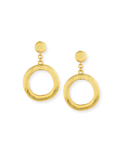 Brushed Golden Hoop Drop Earrings