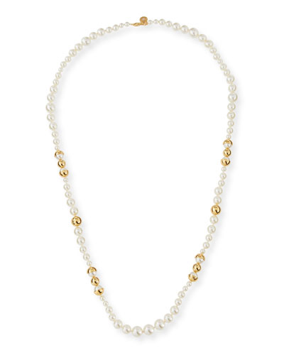 Capped Crystal Pearly Necklace