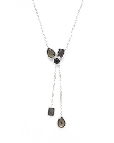 925 Rock Candy Cluster Double-Lariat Necklace in Black Tie