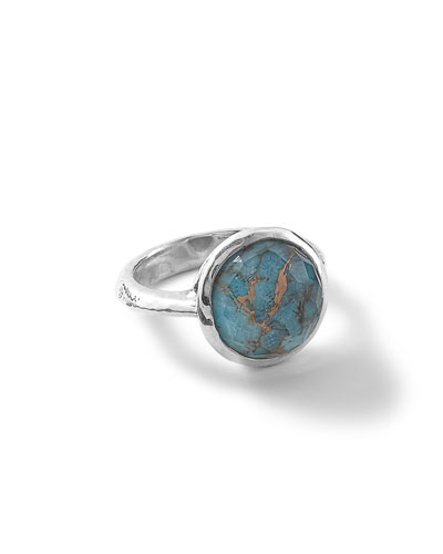Rock Candy Medium Stone Knife Edge Ring in Bronze Turquoise