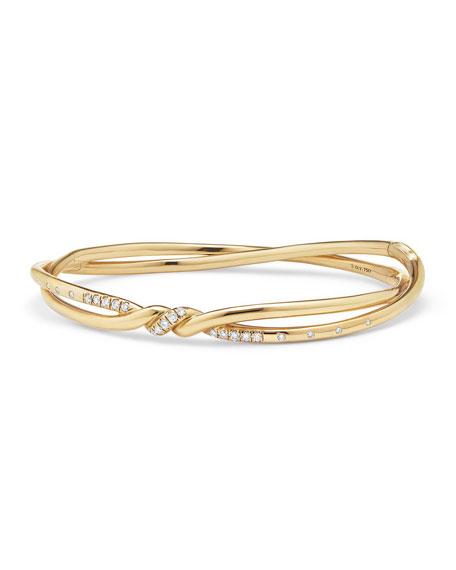 David Yurman Continuance Twisted 18K Bracelet with Diamonds
