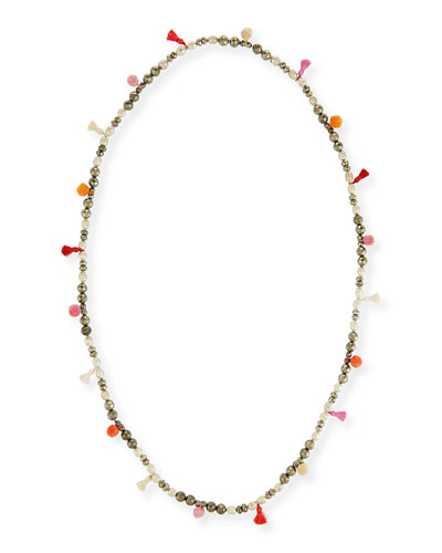 Bella Beaded Tassel Necklace, 42
