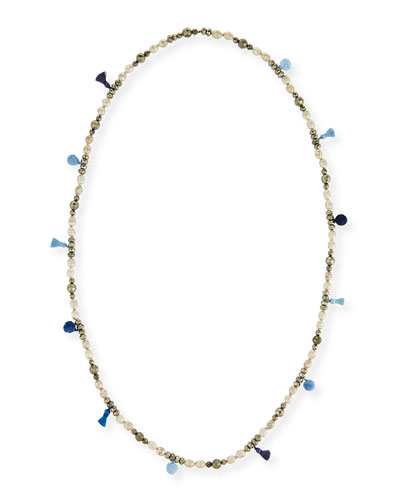 Livie Beaded Tassel Necklace, 42