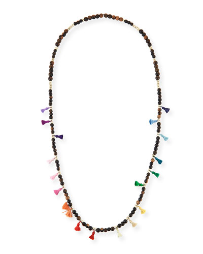 Salma Beaded Tassel Necklace, 42