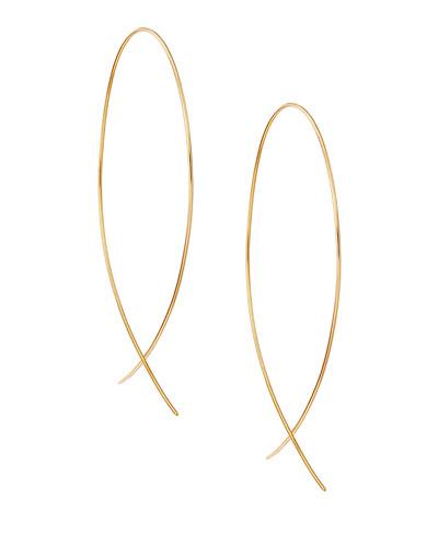 Large 14K Gold Upside Down Hoop Earrings