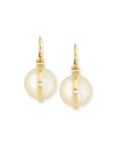 18K Senso™  Round Wrapped Mother-of-Pearl & Diamond Earrings