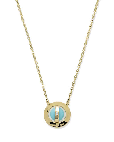 18K Senso® Open Disc Necklace in Turquoise & Diamond
