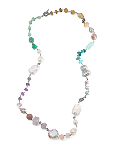 Long Mixed-Bead Single-Strand Necklace