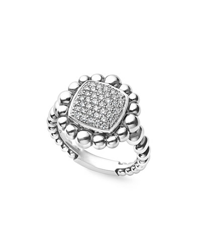 Sterling Silver Extra-Large Caviar Spark Ring with Diamonds, 0.41 tdcw
