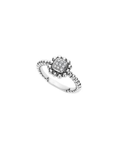 Sterling Silver Caviar Spark Ring with Diamonds, 0.08 tdcw, Size 7
