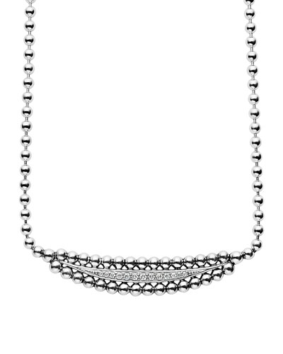 Caviar Spark Half Moon Necklace with Diamonds