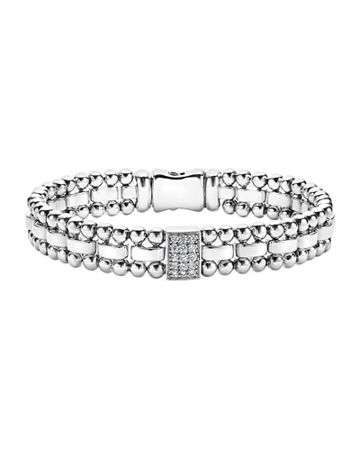 9mm Caviar Spark Bracelet with Diamond Station