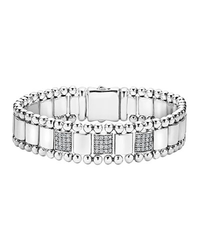15mm Caviar Spark Bracelet with Three Diamond Stations