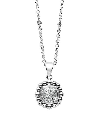Sterling Silver Caviar Spark Pendant Necklace