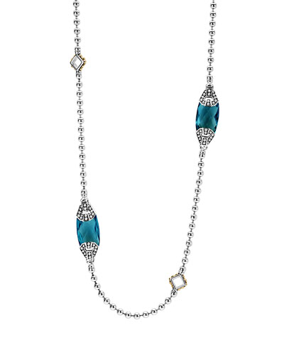 Caviar Color London Blue Topaz Station Necklace