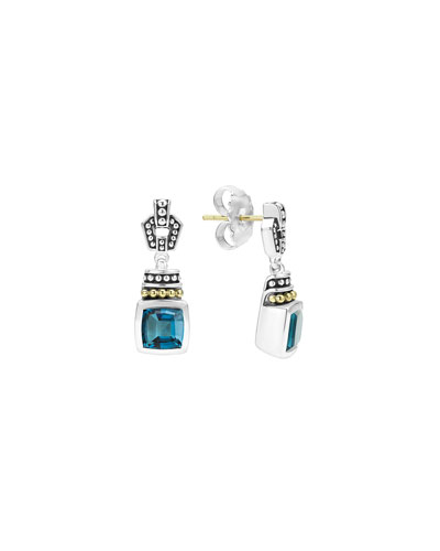 Caviar Color London Blue Topaz Drop Earrings