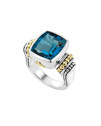 Caviar Color London Blue Topaz Ring, Size 7