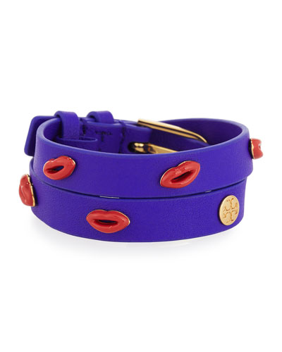 Lips Studded Leather Wrap Bracelet