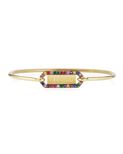 JEMMA WYNNE Personalized Prive Rectangle Bangle With Multicolor Stones In 18K Gold