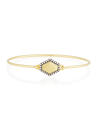 JEMMA WYNNE Personalized Prive Hexagon Bangle With Diamonds In 18K Gold