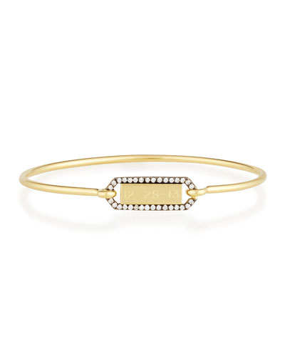 Personalized Prive Rectangle Bangle with Blackened Diamond Border in 18K Gold