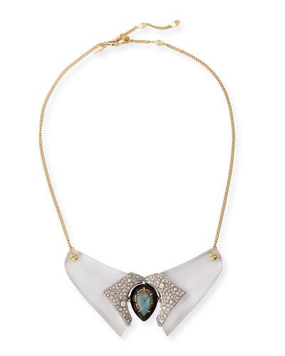 Lucite Crystal Collar Necklace, Silvertone/Golden