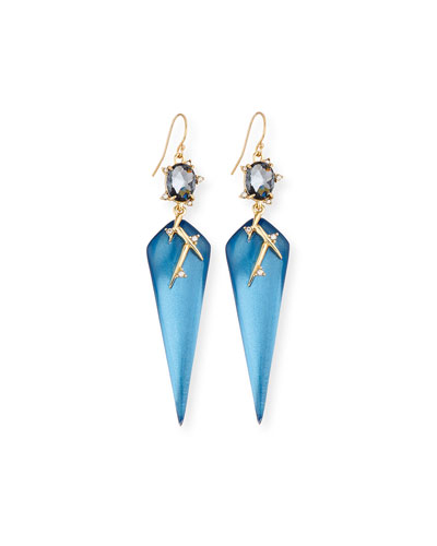 Lucite Thorn Drop Earrings, Blue