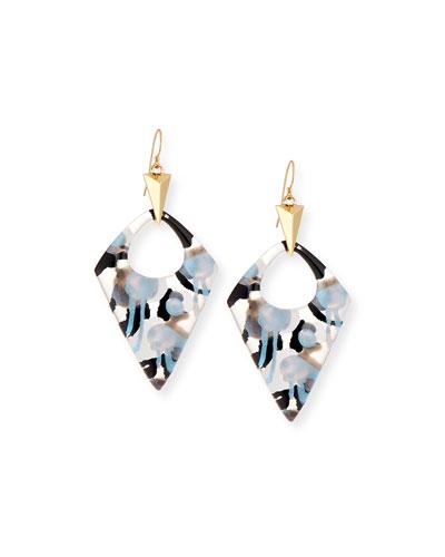 Poppy-Print Kite Drop Earrings